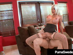 Busty Blonde Puma Swede Fucked & Cummed On By A Hard Cock!