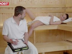 LETSDOEIT - Hot Brunette Seduces and Fucks Stranger in the Sauna