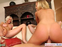 Busty babes Emma Starr and Nicole Aniston sharing cock