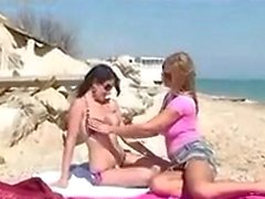 Adrianne Black And Carol Goldnerova On The Beach