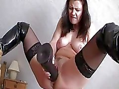 Monster black dildo smashing my loose cunt till i