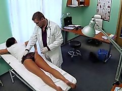 Brunette patient rides her doctor in fake hospital