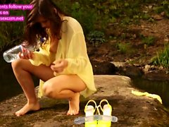 Audrey - Ukrainian Babe Tries Big Dildo At The River