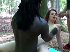 german redhead tight teen 18 outdoor 3some in the woods MMF