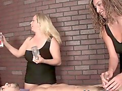 Busty femdom masseuse duos dick slapping fun