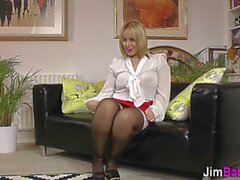 Chubby stockinged blonde