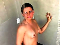 Brunette shemale with natural tits wanks off her girly cock
