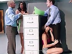 Epic threesome sex inside the office